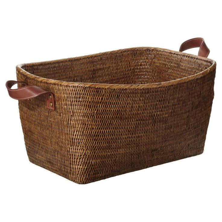Wicker Hamper Basket The Range : Fairfax rattan basket large brown for the home