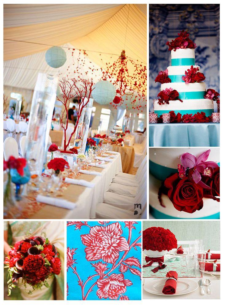 Red and turquoise wedding decor | Wedding Ideas | Pinterest