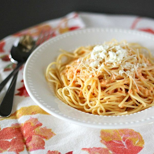 Roasted Red Pepper And Goat Cheese Alfredo Pasta Recipe — Dishmaps