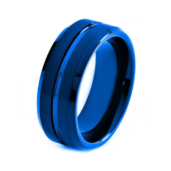 Blue Tungsten Ring Red Men Tungsten Rings Red Wedding Bands Red Me