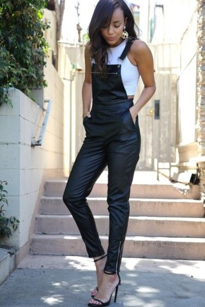 Chic in overalls.