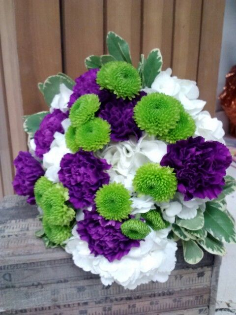 Hydrangea With Carnations Buttons By Superior Hy Vee