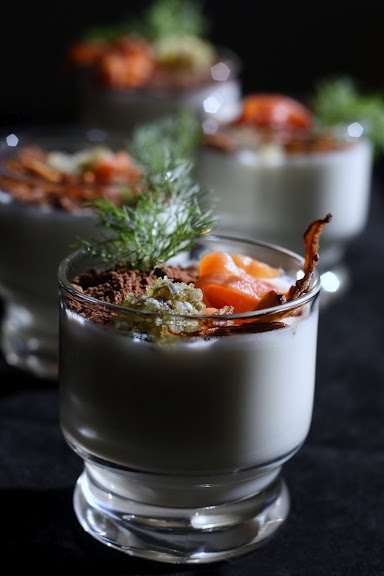 Fennel Panna Cotta with Smoked Salmon, Fennel-Shallot-Caper Chutney ...