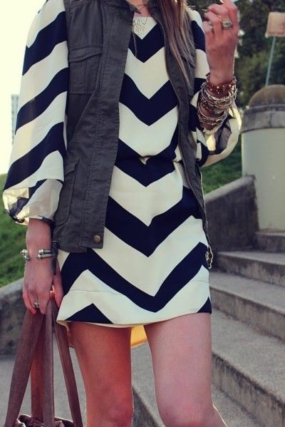 Chevron print dress with a utility vest #SRfashion