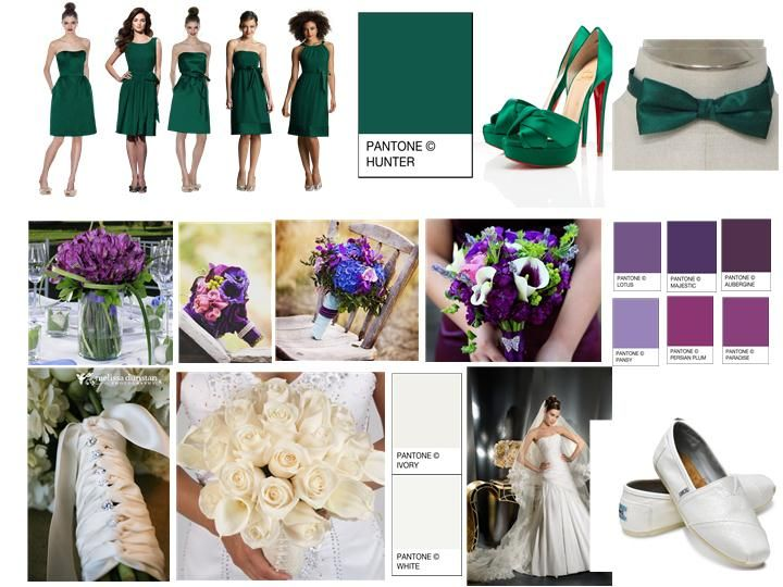hunter green weddings | Hunter Green & Aubergine : PANTONE WEDDING Styleboard : The Dessy ...