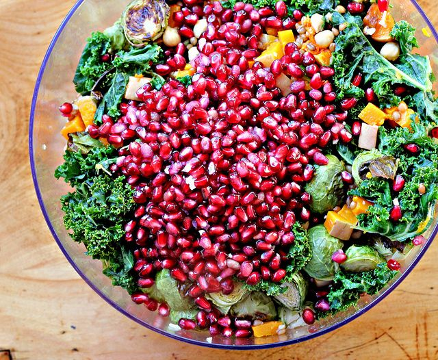 Garlic-Roasted Butternut Squash and Kale Wheatberry Salad with Pomegr ...