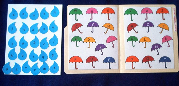 ... alphabet file folders | Umbrella Alphabet Match File Folder Game $8.00