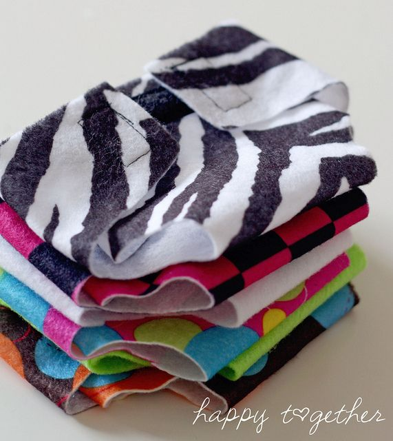 Easy!  Felt diapers for baby dolls, teddy bears etc.  Cute and dirt cheap to make!