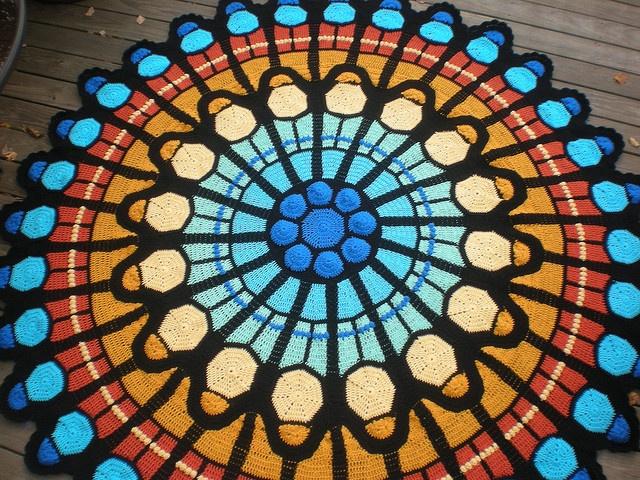 Cathedral Rose Window Afghan pattern by Julene Watson
