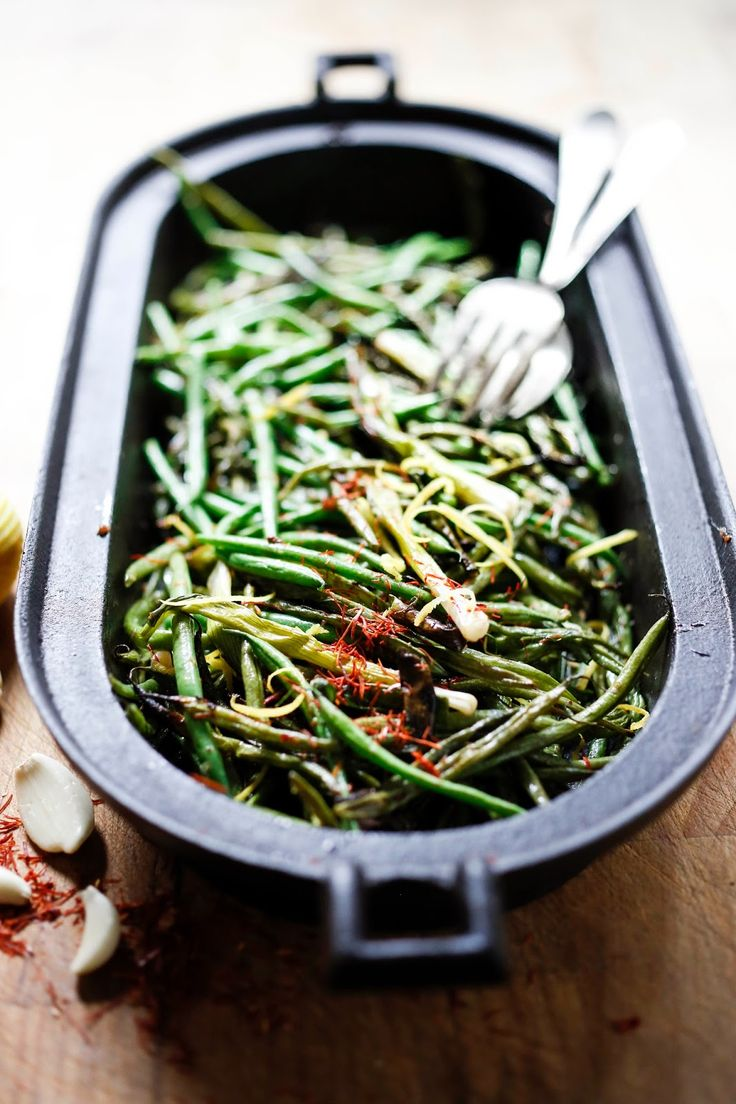 Feasting at Home: Charred Green Beans and Scallions with Bagna Cauda
