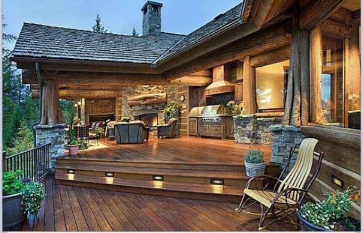 Cabin deck dream home pinterest for Log cabin porches and decks