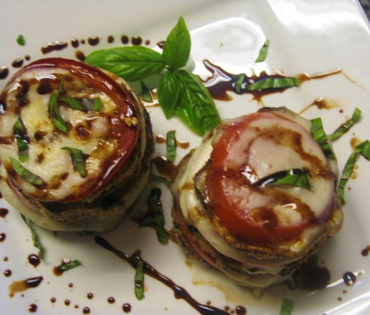 Roasted Eggplant Caprese Tower   Salads   Pinterest