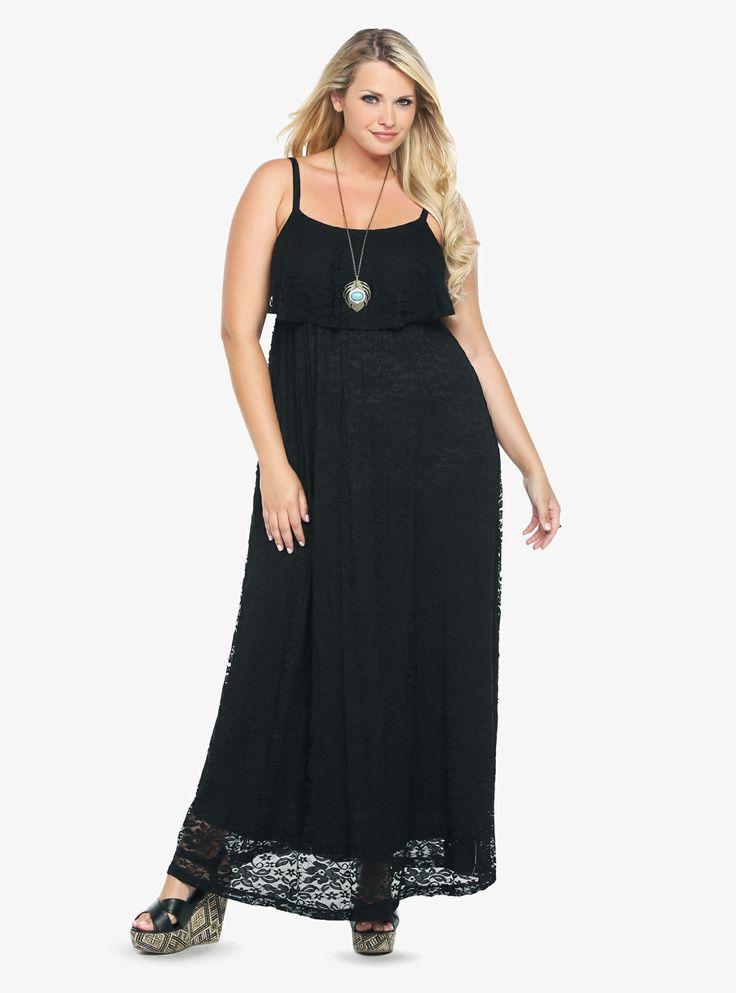 Black ruffle lace maxi dress torrid torrid wishlist pinterest
