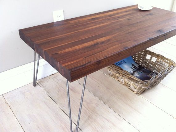 Walnut Coffee Table Modern Industrial Style Featuring Butcher Block