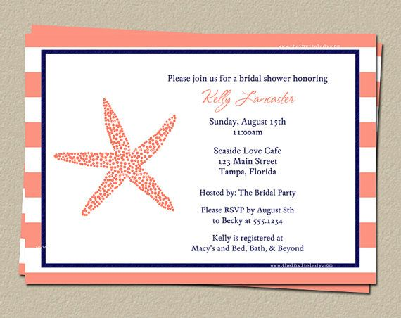 Nautical Wedding Shower Invitations Starfish by TheInviteLadyShop, $9 ...