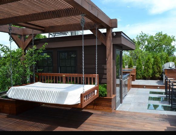 hanging bed outdoor deck garden ideas pinterest