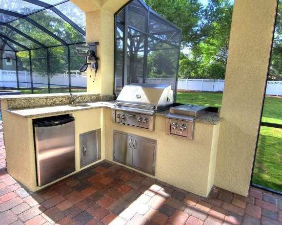 outdoor kitchen stucco and granite outdoor kitchen