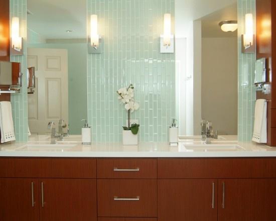 vertical glass tile backsplash