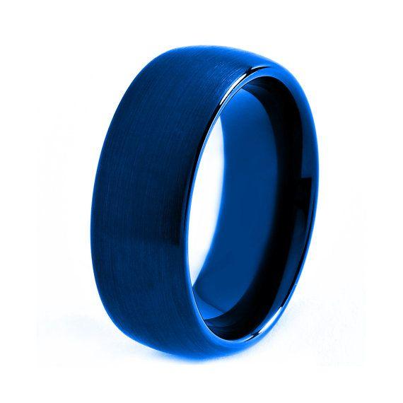 Blue Titanium Ring Red Men Titanium Rings Red Wedding Bands Red Me