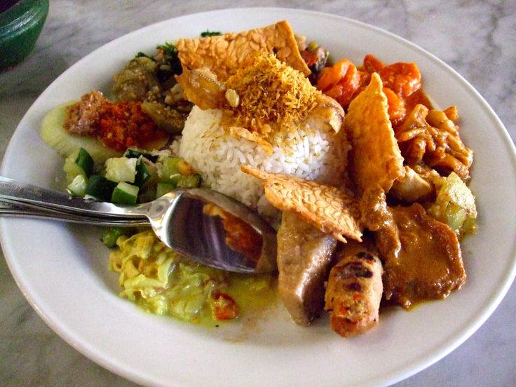 Nasi Campur (Mixed Rice)~ rice with assorted vegetables and meat of ...