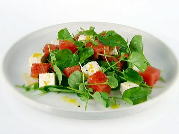 Watermelon With Watercress and Feta/Video http://www.foodnetwork.com ...