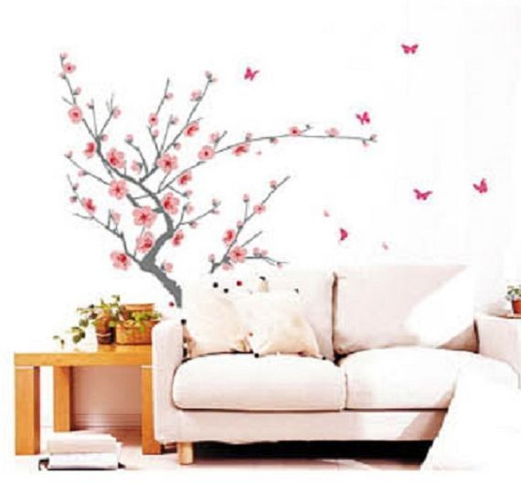 Cherry blossom flower tree home decor art mural sl818 for Cherry blossom tree mural
