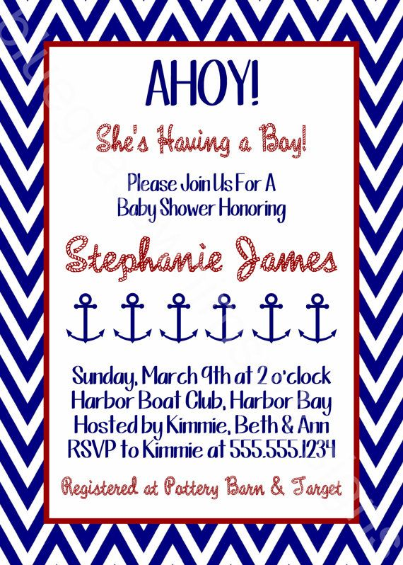 ahoy nautical theme baby shower invitation for mom to be blue white