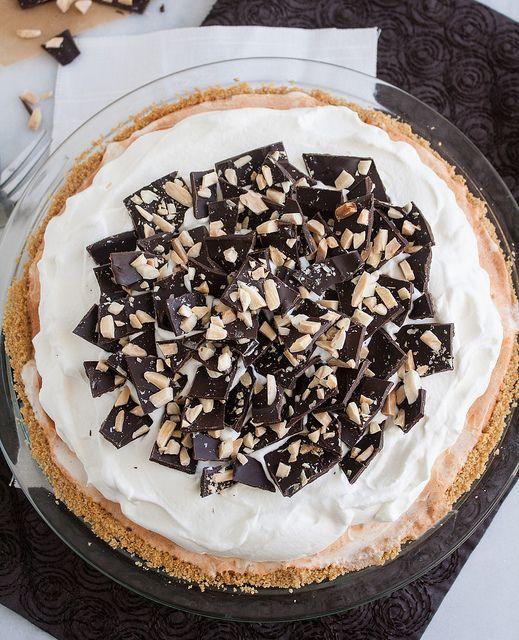 Pumpkin Ice Cream Pie with Chocolate-Almond Bark and Toffee Sauce