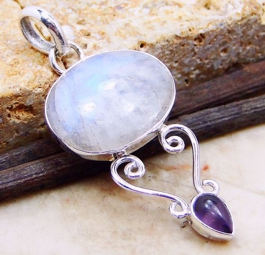 #'Moonstone and Amethyst Pendant' is going up for auction at  9am Wed, Aug 22 with a starting bid of $12.