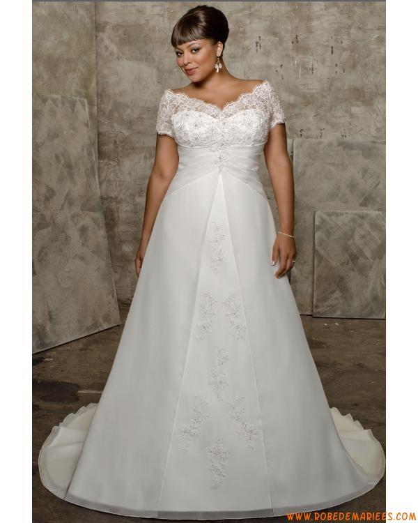 Robe de mariée taille plus col V manches  plus size wedding dresses ...