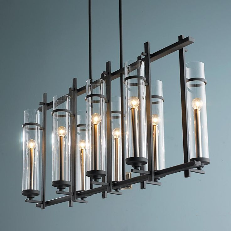 Clearly Modern Glass Tubes Island Chandelier