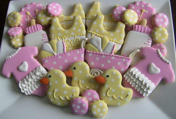 welcome baby baby shower decorated sugar cookies via etsy
