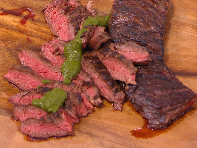 Grilled skirt steak with roasted jalapeño chimichurri | Recipe