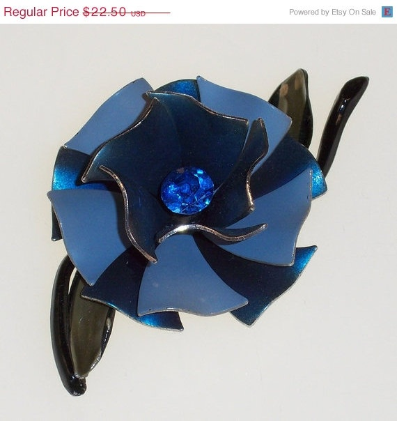 Vintage Flower Brooch Blue Rhinestone Enamel by 4dollsintime, $16.88