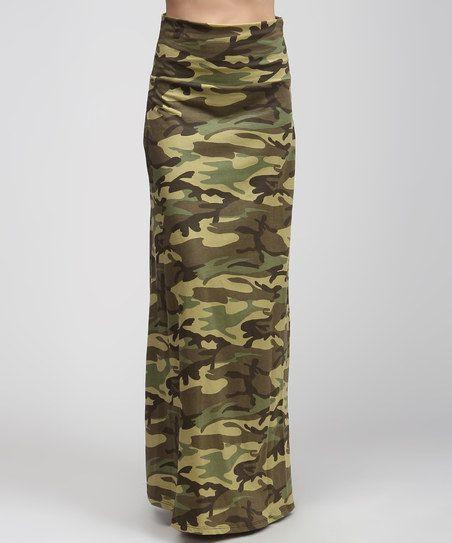 bold beautiful green camo maxi skirt