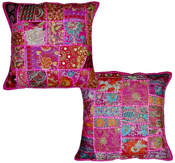 Throw Pillows Bulk : 2pc Pink wholesale set Decorative Tribal accent throw pillow, Patchwo?