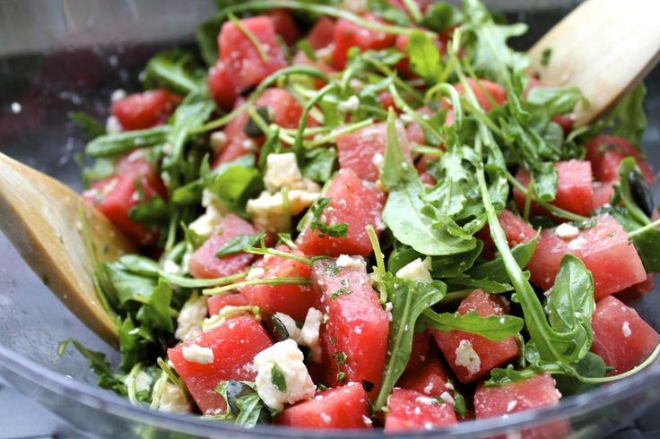 Arugula, watermelon and feta with mint instead of the usual basil. Add ...
