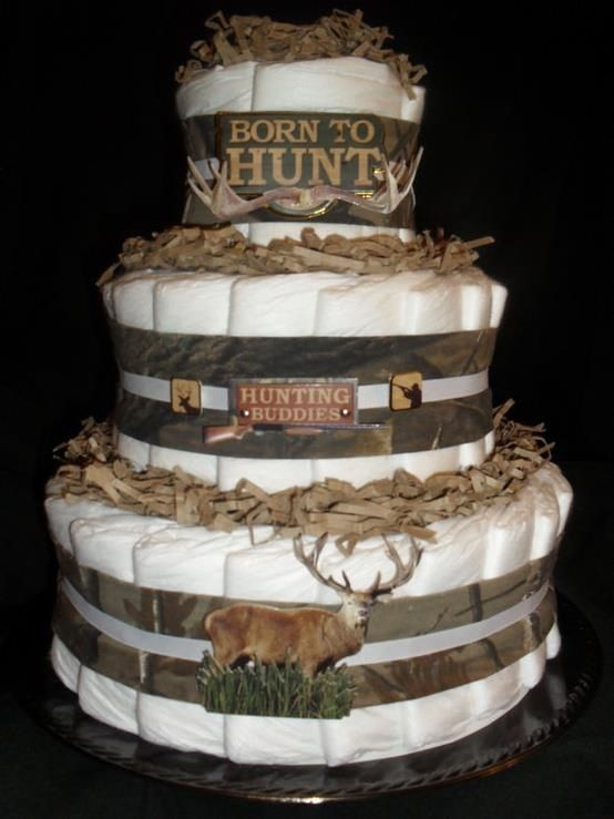 Camo Ribbon on diaper cake...for the born to be a hunter baby  #Realtree #Realtreecamo
