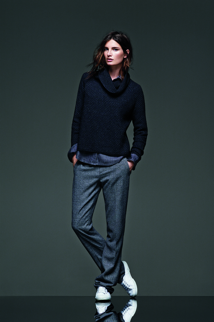 East-West Turtleneck in Charcoal $89.50; Denim Shirt in Gray Wash $79.50; Slim Straight Flannel Pant $110; Superga Sneakers $65