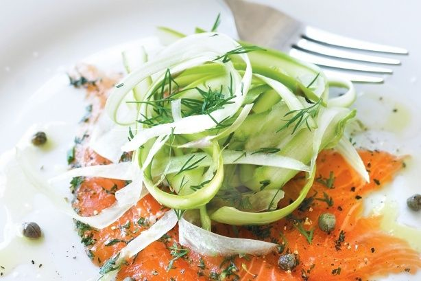 ... cured salmon as a tasty base for this asparagus and fennel salad