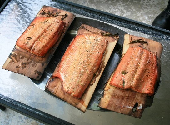 Wild Salmon grilled on a cedar plank. | The Captain's Table | Pintere ...