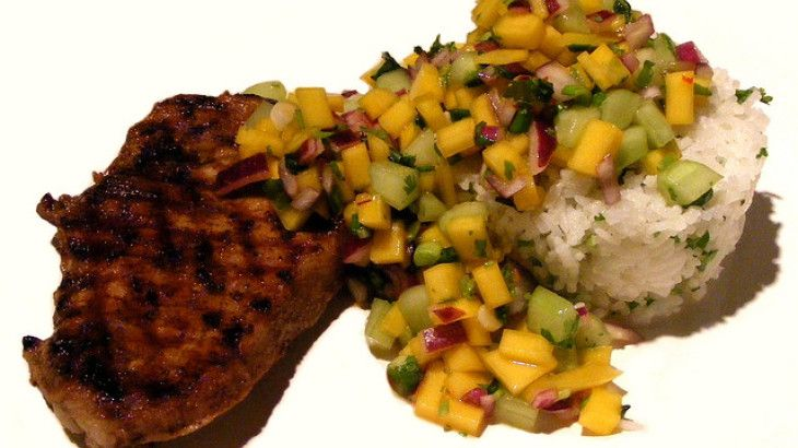 ... grilled pork chops with caramelized peaches and basil tropical grilled