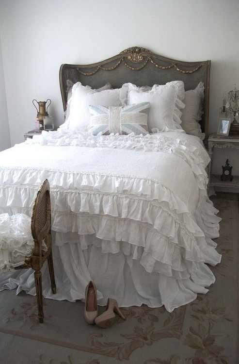 Lovely ruffle bedding country french pinterest for Frilly bedspreads