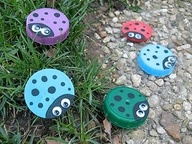 Ladybugs made out of milk jug caps