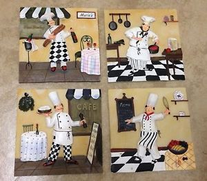 New 4 Happy Fun Fat French Chef Paris Bistro Wall Plaque