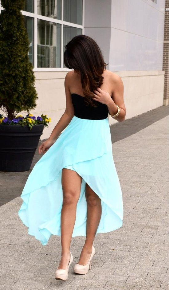 black and blue high low dress