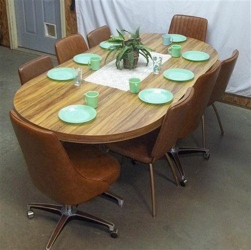 retro table 8 chairs dining room kitchen danish modern mid century 50s