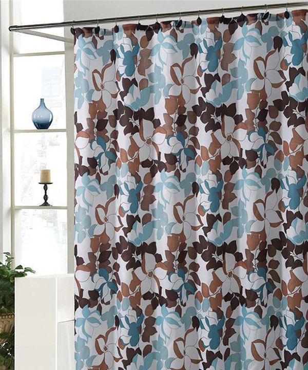 Blue & Taupe Makayla Shower Curtain Set