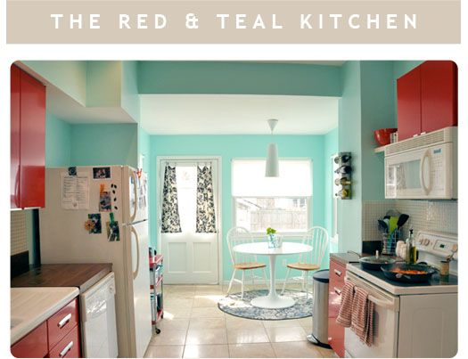Red and teal kitchen pretty pretty pretty pinterest for Teal and red kitchen