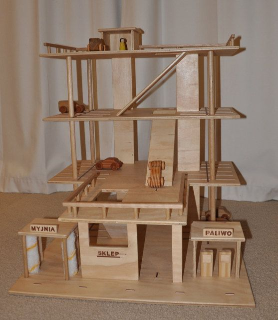 Wooden Toy Car Park /Garage 3 Levels including car wash and petrol ...